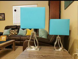 Set of two unique shape and color Scandinavian design table lamps. for Sale in Las Vegas, NV