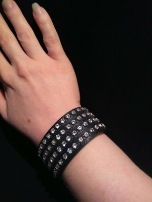 New Black Leather And Clear Stone Adjustable Length Bracelet for Sale in Gresham, OR