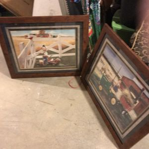 Large framed pictures with glass for Sale in Morton, IL