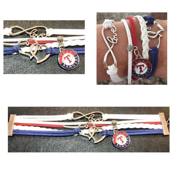 TX Rangers Multi-Strand Suede Charm Bracelet