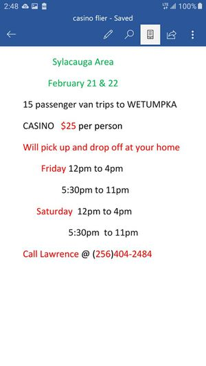 Trip to WETUMPKA CASINO for Sale in Talladega Springs, AL