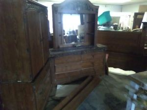 Bedroom set, coffee table, dining table, queen side bedframe curio cabinet for Sale in Abilene, TX