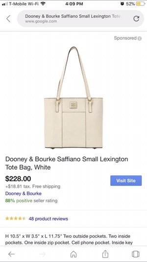 Brand new Dooney & Bourke white leather tote purse for Sale in Las Vegas, NV