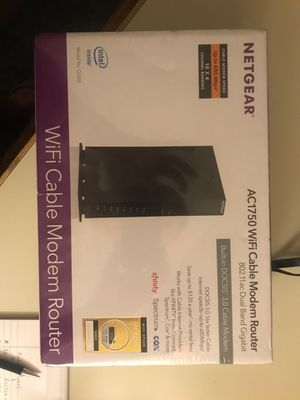 NETGEAR - Dual-Band AC1750 Router with 16 x 4 DOCSIS 3.0 Cable Modem - Black for Sale in Seattle, WA