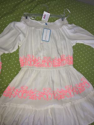 White Flowy Off the Shoulder Midi Dress With Neon Pink Trim for Sale in Hialeah Gardens, FL