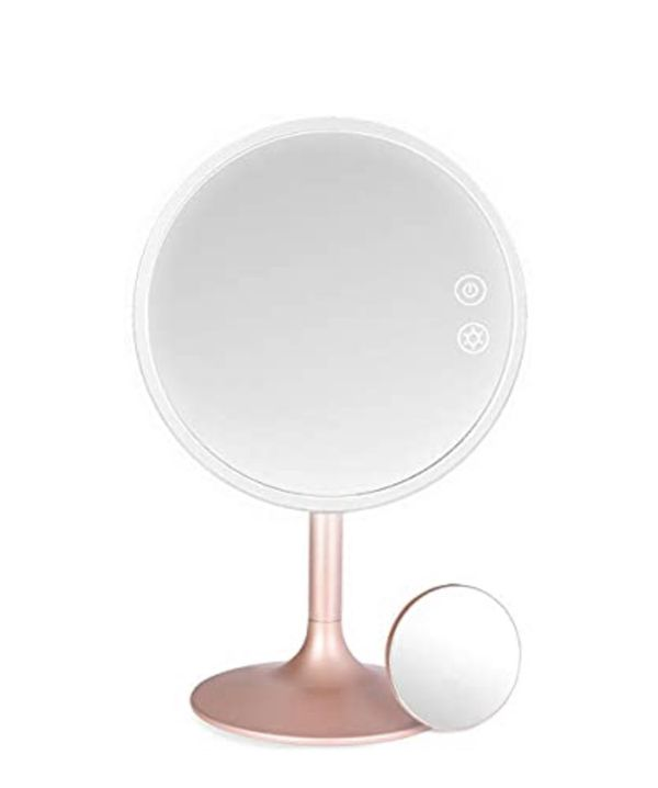 Makeup Mirror with Lights, Rechargeable Cordless Lighted Makeup Mirror LED Vanity Mirror with 1X/5X Magnification, 3 Color Lighting Modes Detachable