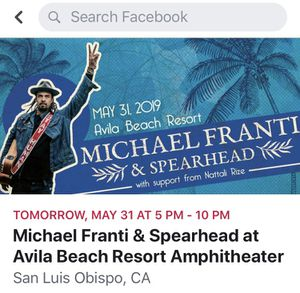 Michael Franti &Spearhead ticket Friday at Avila Beach for Sale in Pismo Beach, CA