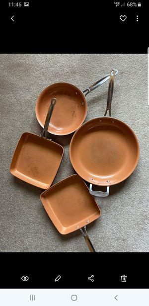 4 Red Copper Pans for Sale in Copenhagen, NY