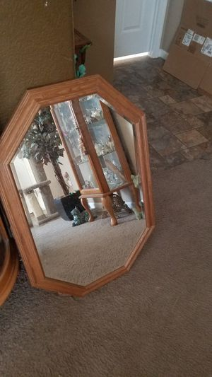 Oak Wall Mirror With Hooks on Back To Hang for Sale in Florence, AZ