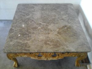 REDUCED price today omMarble top carved wooden ball n claw feet base coffee table for Sale in San Angelo, TX