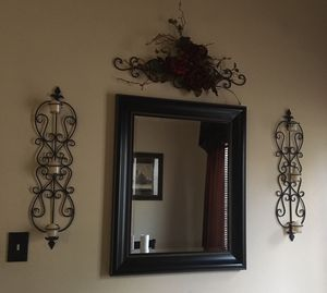 Mirror candle sconces flower swag for Sale in Watauga, TX