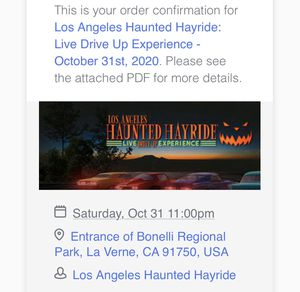 Haunted hayride tickets for tomorrow for Sale in Glendale, CA