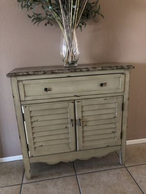 Rustic Farmhouse distressed entry table cabinet w/storage shelves for Sale in Riverside, CA