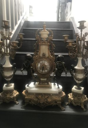 Antique clocks set brass and marble made Italian mechanical for Sale in Glendale, CA