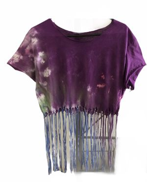 Tie dye no neck fringe crop top for Sale in San Diego, CA