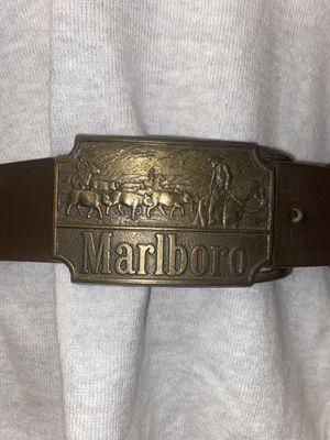 Marlboro Belt Buckle w/ Leather Belt for Sale in Bonney Lake, WA