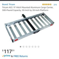 Tricam ACC-1F Hitch Mounted Aluminum Cargo Carrier, 500-Pound Capacity, 50-Inch by 20-Inch Platform for Sale in Whitney,  TX