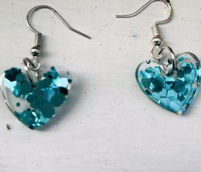 Blue Glitter Heart Earrings for Sale in Pittsburgh,  PA