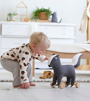 NEW CUTE Skunk Plush Pull Toy Stuffed animal wheels Perfect gift for baby / toddler or a cute photo shoot prop nursery decor decoration for Sale in Ventura, CA