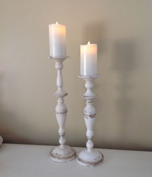 "NEW 16"" & 19"" TALL DISTRESSED CANDLE HOLDERS ~ HOLDS 3"" WIDE CANDLES for Sale in Thousand Oaks, CA"