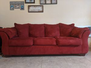 Red microsuede couch for Sale in Pompano Beach, FL