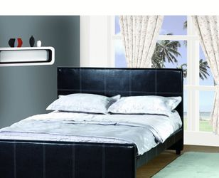 Brand new Queen size black leatherette bed for Sale in Pomona,  CA