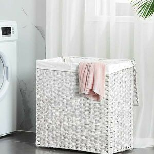 Divided Laundry Hamper, Handwoven Laundry Basket, Synthetic Rattan Clothes Hamper with Removable Liner Bag for Sale in El Monte, CA