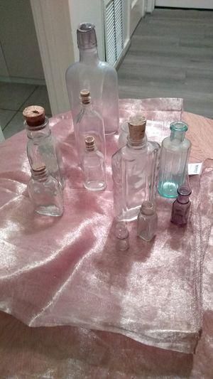 Assortment of vintage antique bottles from blue to purple ,old medicine bottles for Sale in El Monte, CA