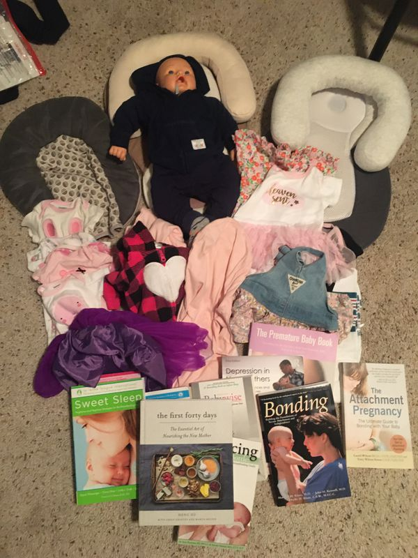 Baby clothes, practice baby, books