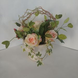 Artificial flowers in white ceramic vase for Sale in Woodbury, MN