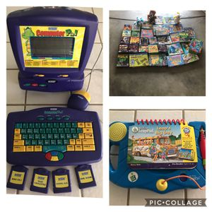 Children's vtech computer, leap frog game. Over 30 puzzles . 3 stuff animals for Sale in Fresno, CA
