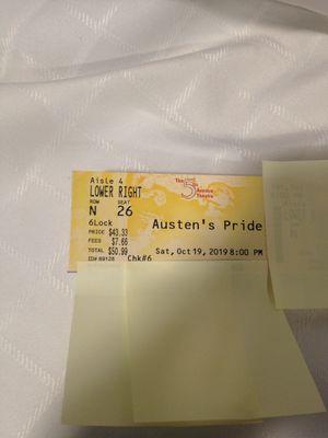 Austen's Pride - 5th Avenue Theater - 2 tickets - Face value $102.00 for Sale in Des Moines, WA