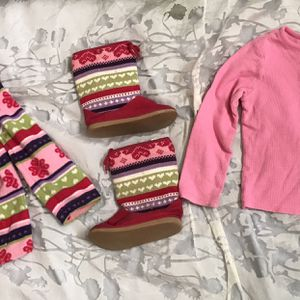 Girls Pink Fair Isle Hoodie+Gingerbread+boots Sz4 for Sale in San Marcos, CA