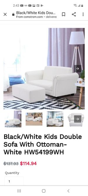 Kids white leather couch for Sale in Banning, CA