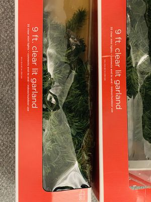 Christmas Decorations: 9ft Lighted Garland (clear lights) (Set of 2) for Sale in Columbia, MD