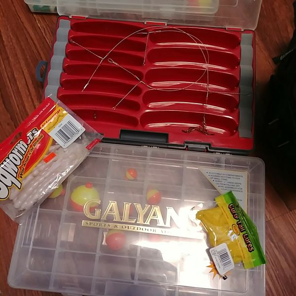 Tackle box / bag filled with bait lures bobbers