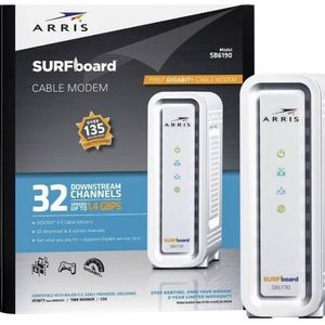 Arris SURFboard SB6190 Docsis 3.0 Cable Modem, 1.4 Gbps Download Speeds, White for Sale in Bolingbrook, IL