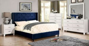 Navy blue queen platform bed frame/Yes We Finance 😁 Message To Apply Today / No Credit Needed - Order Today! for Sale in Downey, CA