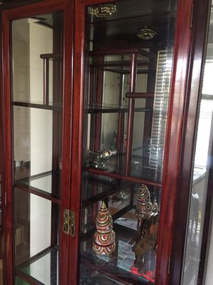 Antique rosewood glass cabinet for Sale in Spartanburg, SC