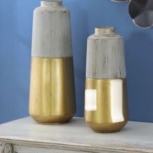Brand New Gold and Multi-color Metal Decorative Flower Vase (Set of 2) for Sale in Diamond Bar, CA