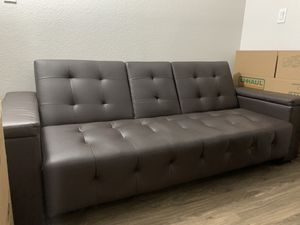 Brown leather futon for Sale in Las Vegas, NV