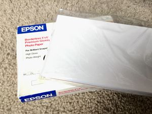 Epson Borderless Premium glossy photo paper (55 papers) for Sale in Minneapolis, MN