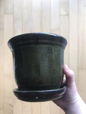 Dark Green Glazed Ceramic Plant Pot for Sale in Washington, DC