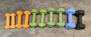 Set of 5 Neoprene Handweights 3 Lb, 5 Lb, 8 Lb, 10 Lb, 12Lb for Sale in Nashville, TN