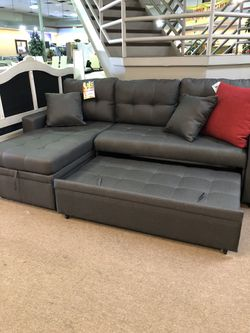 New Convertible Sectional Chaise pull Out Sleeper with Storage Chaise for Sale in Phoenix,  AZ