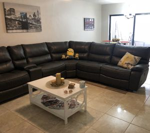 Grey leather Sectional With Cup Holders and USB charging ports for Sale in North Miami Beach, FL