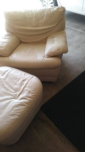 White leather chair with ottoman for Sale in Phoenix, AZ
