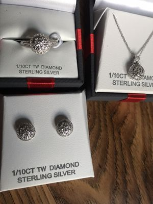sterling silver and genuine diamond set for Sale in Tacoma, WA