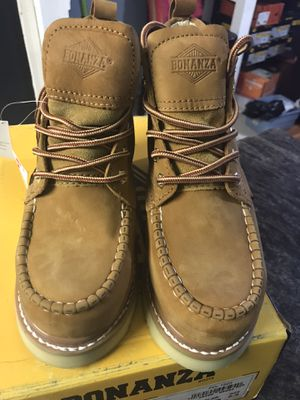 Work boots// Bonanza men's shoe// hablo español//SIZE//(6.5) LT. BROWN COLOR. for Sale in Skokie, IL