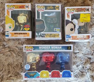 Funko Pop! Black Lightning, Super Saiyan Vegeta, 3-Pack Wonder Woman, Chun-Li Animation Heroes Games WW84 1984 LIMITED EDITION 3000 for Sale in North Miami, FL